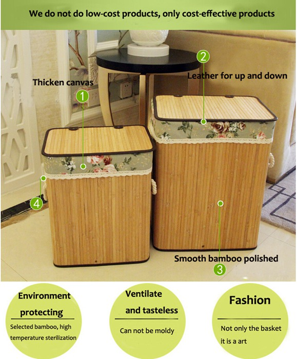 Eco-Friendly Fashion Design Bamboo Laundry Storage Basket With Fabric Liner