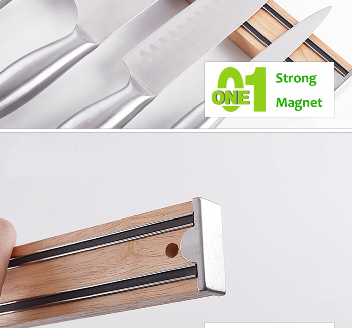 Wooden Magnetic Bar Knife Wall Holder