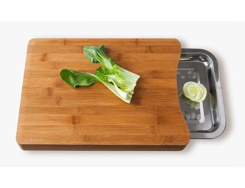 Natural Bamboo Chopping Boards with Stainless Steel Food Drawer