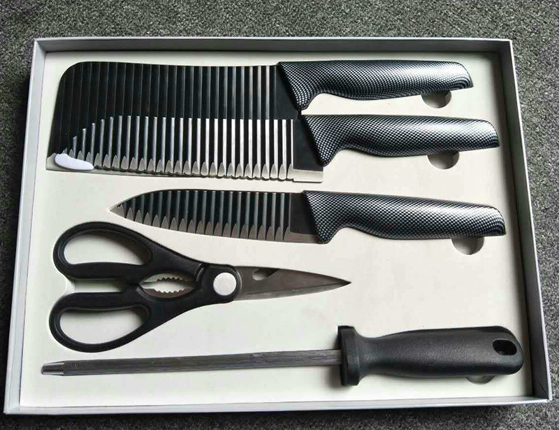 Stainless Steel 5pcs Kitchen Knife Set with Block