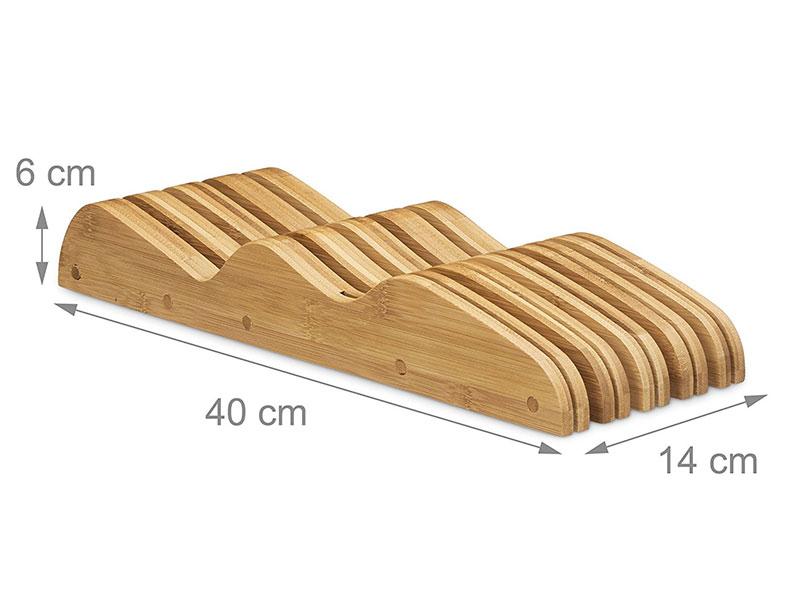 Fresh Design Kitchen In-Drawer Bamboo Knife Block/ Holder