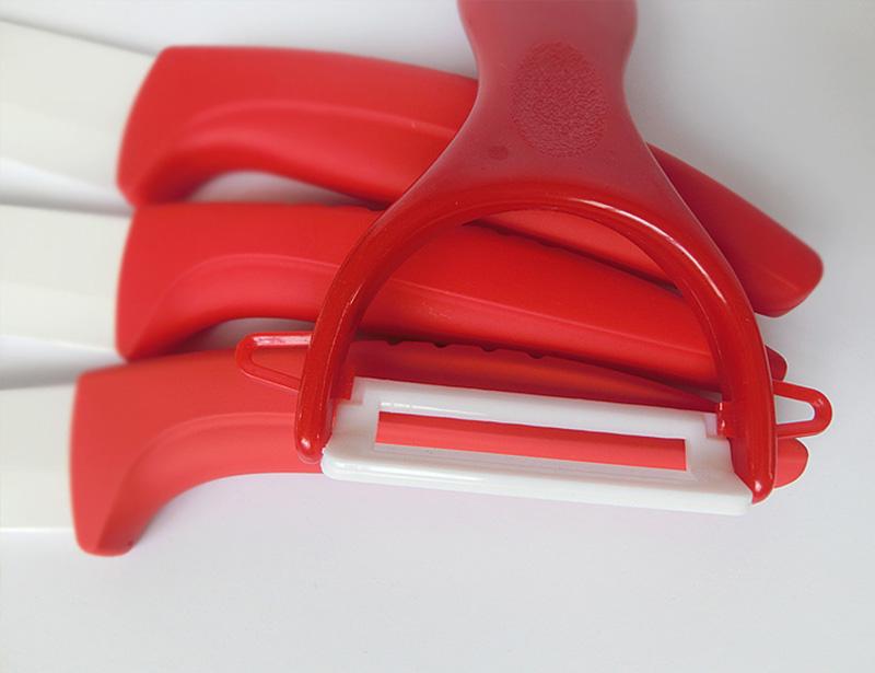 Non-Slip Curve Handle 6 Pcs Ceramic Knife Set with Block