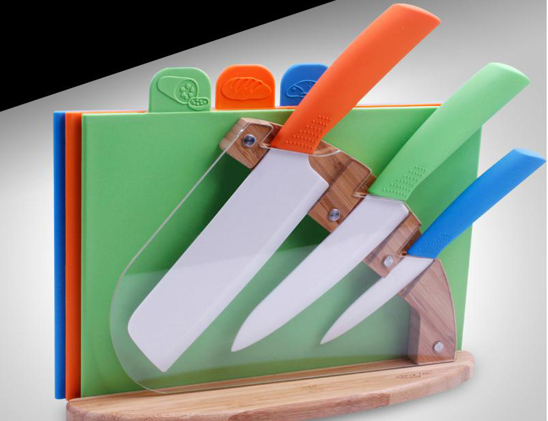 7 Pcs Color Full Ceramic Knife Set with Block