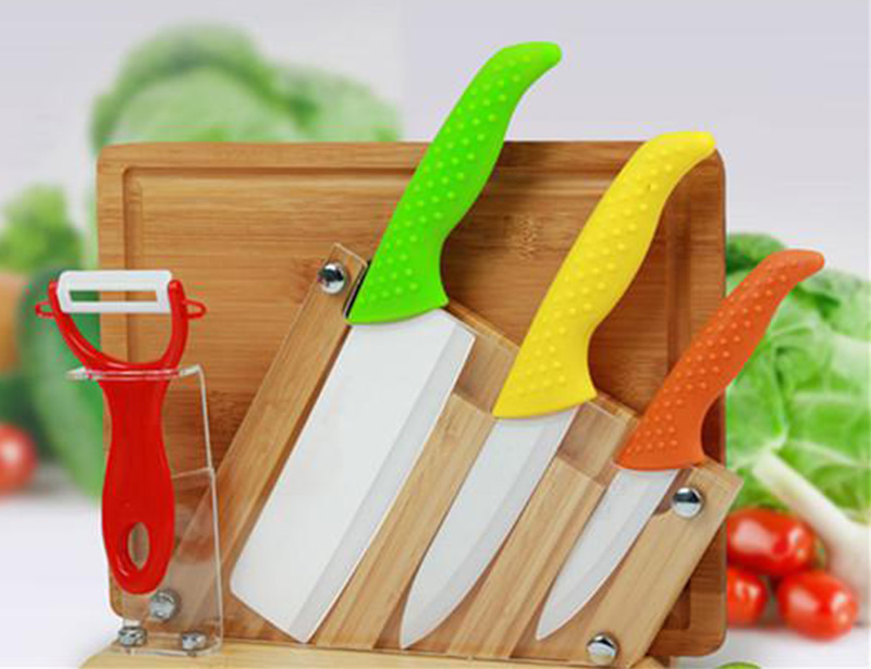 5 Pcs Color Full Ceramic Knife Set with Block