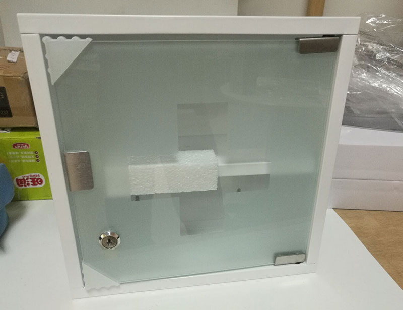 Powder Coated 2 Layers Medicine Storage Box with Lock and Glass Door