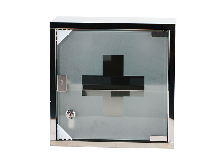 Stainless Steel 2 Layers Medicine Storage Box with Lock and Glass Door