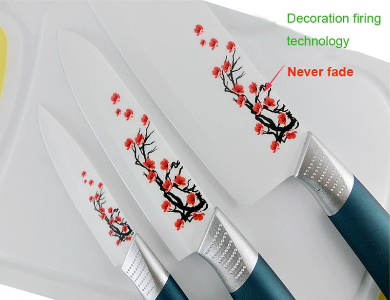 Non-Slip Handle 6 Pcs Ceramic Knife Set with Block