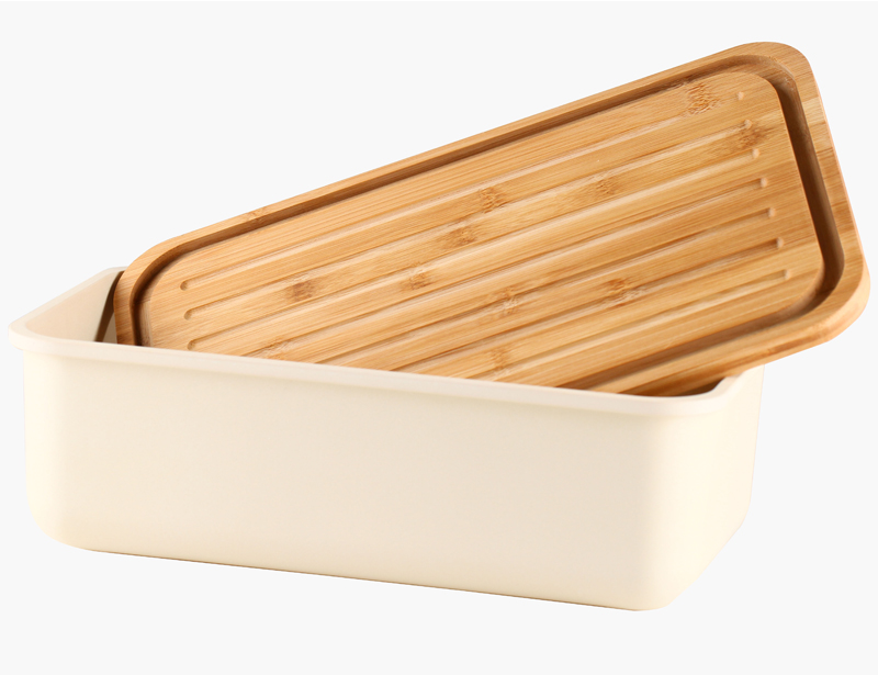 Durable Food safe Bamboo Fiber Bread Box with Bamboo Lid