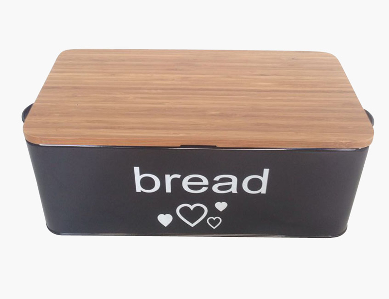 Durable Food safe Metal Bread Box with Bamboo Lid