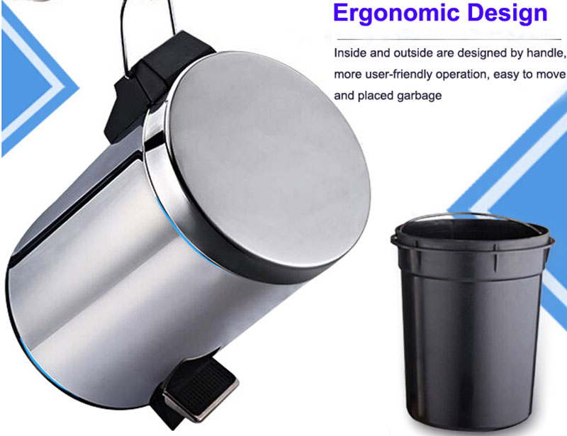 3L 5L 12L Stainless Steel Foot Pedal Trash Can