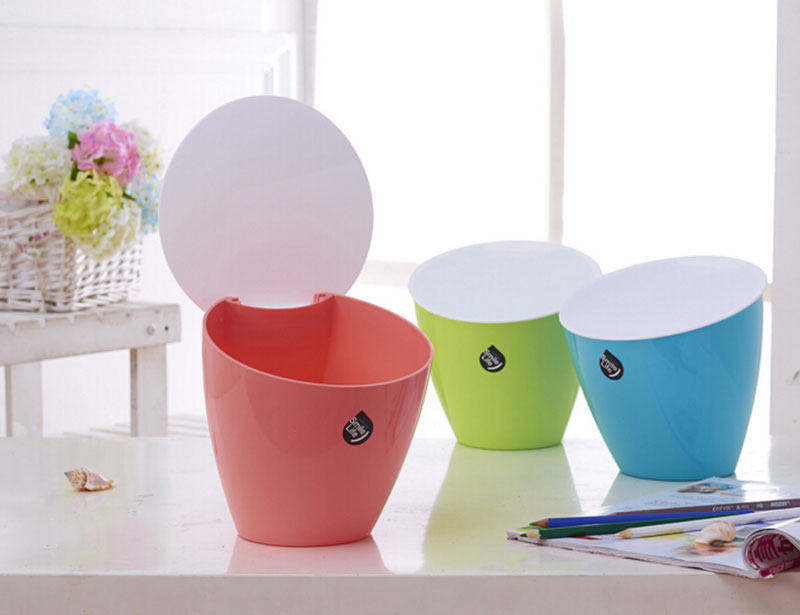 PP Wholesale Household Desktop Plastic Trash Bin with Flap Lid