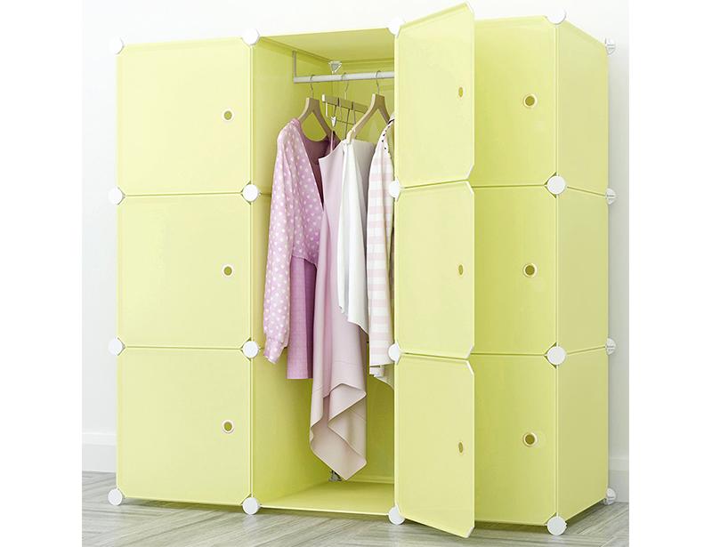 Pure Color DIY Plastic Wardrobe Storage Cabinet