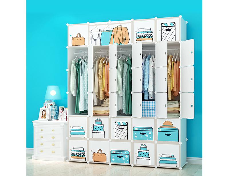 Cartoon DIY Plastic Wardrobe Storage Cabinet for Children