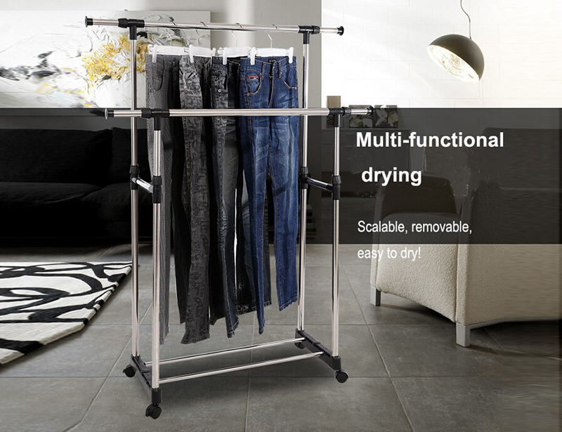 Adjustable Stainless Steel Double Pole Clothes Drying Rack with Wheels