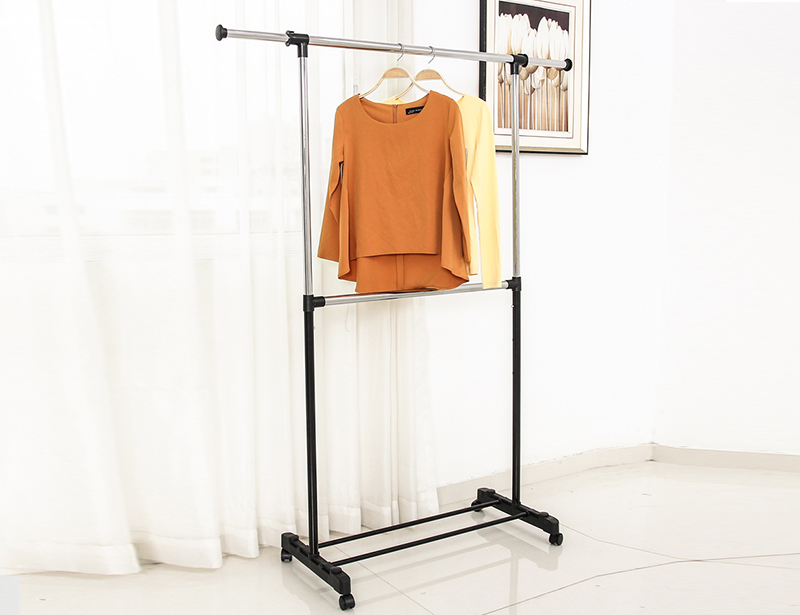 Adjustable Single-pole Double Layer Clothes Drying Rack with Wheel