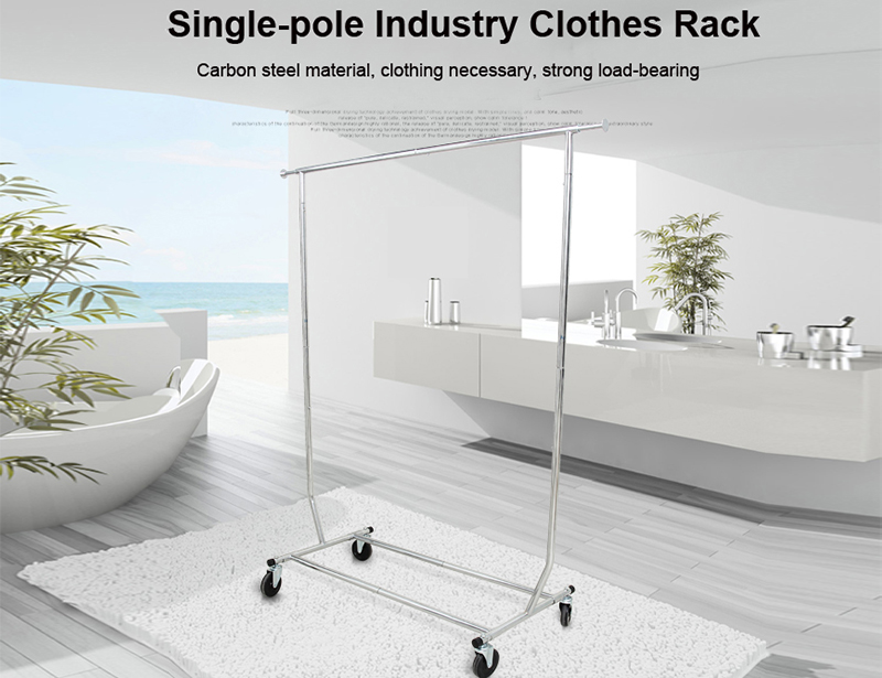 Adjustable Single-pole Industry Clothes Drying Rack with Wheel