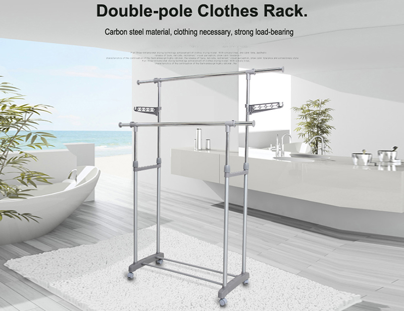 Adjustable Double-pole Clothes Drying Rack with Wheel