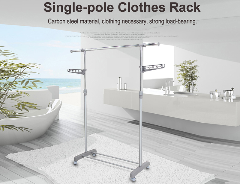 Extendable Single-pole Clothes Drying Rack with Wheel
