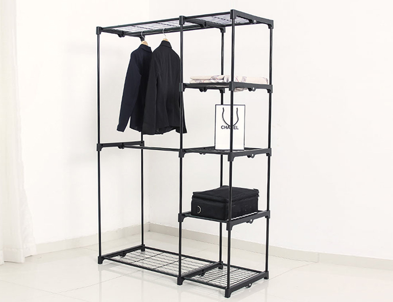 Metal Wardrobe Cabinet Clothes Rack Storage