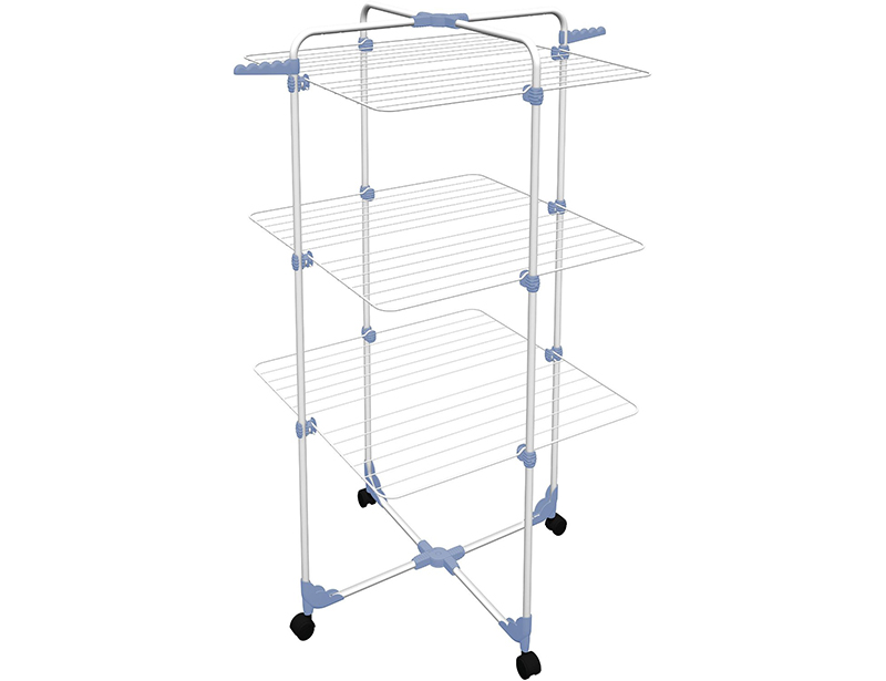 30M 3 Layers Tower Iron Clothes Drying Rack with Wheel