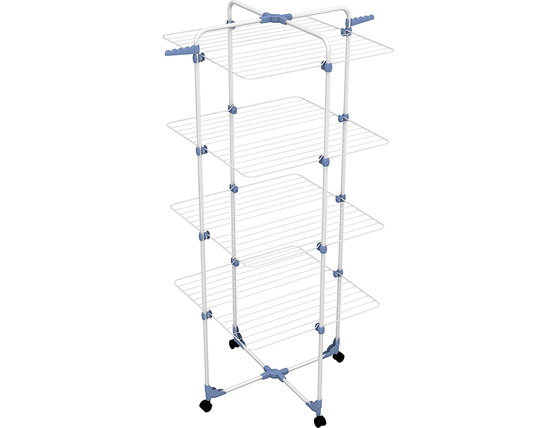 40M 4 Layers Tower Iron Clothes Drying Rack with Wheel
