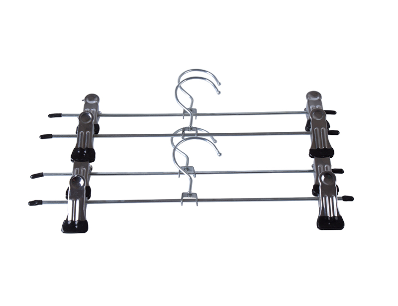Adjustable Metal Trousers and Pnts Hanger with 2 Rubber Clips