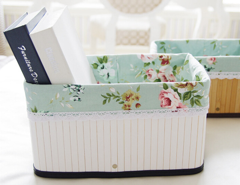 Bamboo Storage Basket With Fabric