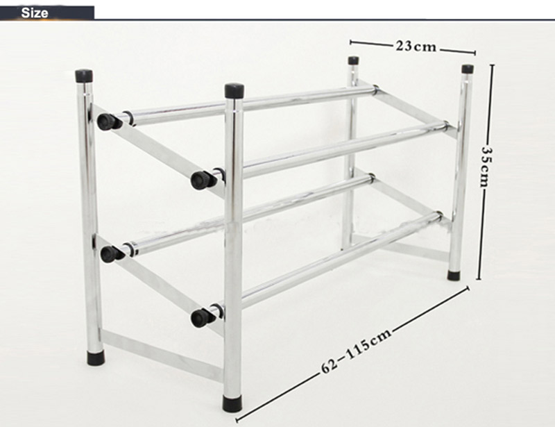 Adjustable Two Tier Carbon Steel Shoe Storage Rack