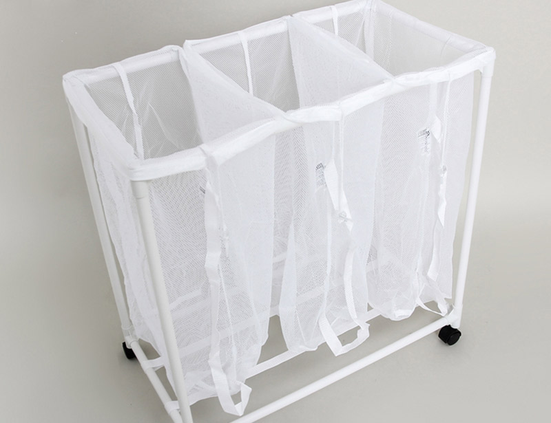 PVC Plastic Dirty Laundry Basket With Wheel And 3 Mesh Bags