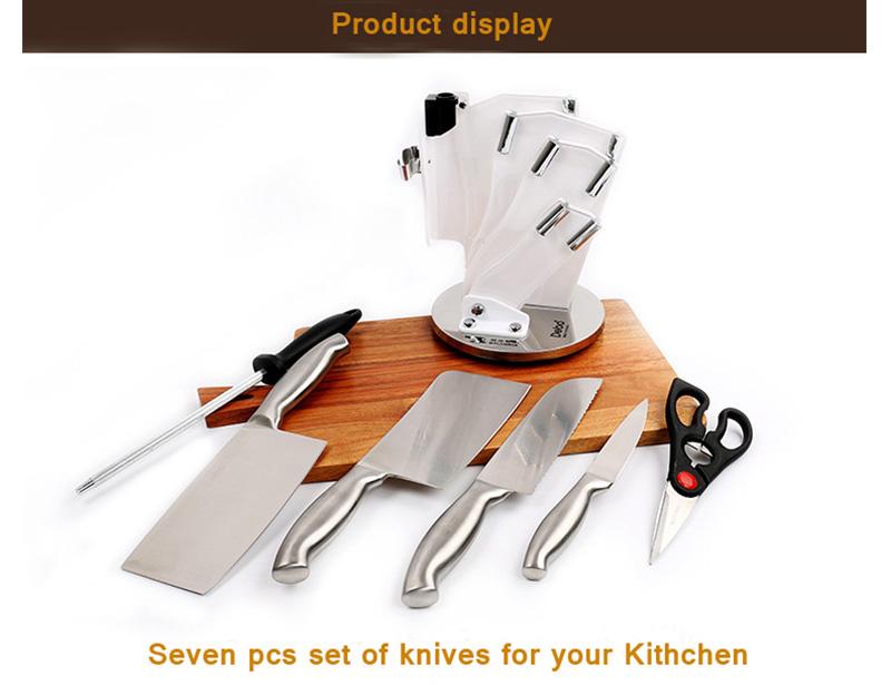Stainless Steel 7pcs Kitchen Knife Set With Block