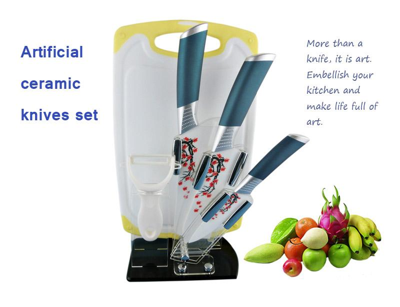 Non-Slip Handle 6 Pcs Ceramic Knife Set with Block