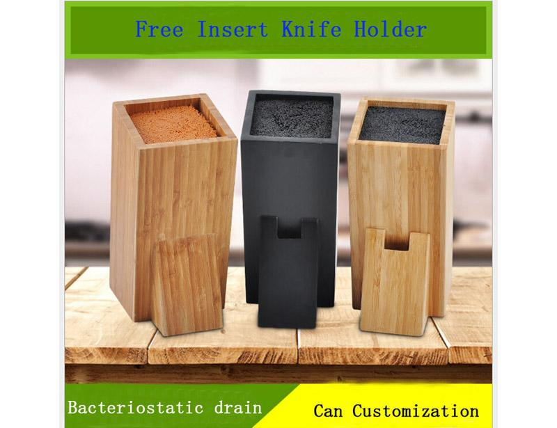 High Quality Free Insert MDF/ Wooden/Bamboo Square Knife Block