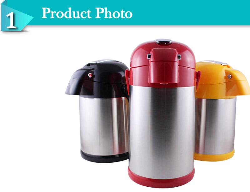 Zinc Alloy Lever Colorful Double Wall Stainless Steel Vacuum Air Pot