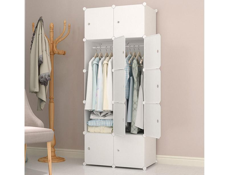 Pure Color DIY Plastic Wardrobe Storage Cabinet