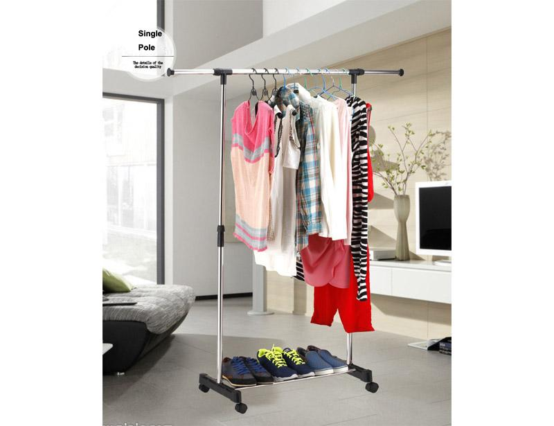Adjustable Stainless Steel Single Pole Clothes Drying Rack with Wheels